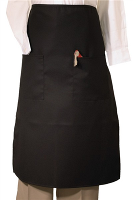 2-POCKET LONG BISTRO APRON - Black